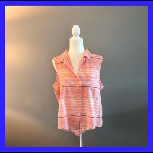 Beach lunch lounge coral button down sleeveless. L